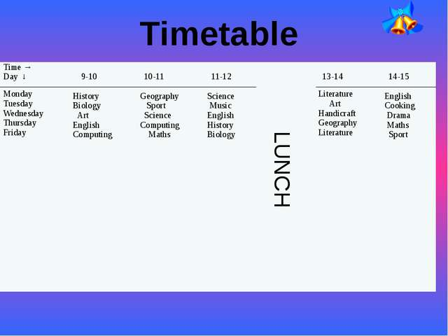 Timetable LUNCH Time → Day ↓ Monday Tuesday Wednesday Thursday Friday 9-10 Hi...