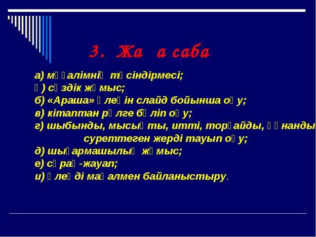а) мұғалімнің түсіндірмесі; ә) сөздік жұмыс; б) «Араша» өлеңін слайд бо...