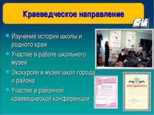 Изучение истории школы и родного края Участие в работе школьного музея Экску
