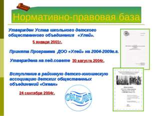 Нормативно-правовая база 24 сентября 2004г. Утвержден Устав школьного детског