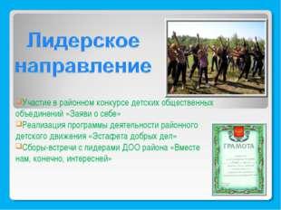 Участие в районном конкурсе детских общественных объединений «Заяви о себе» Р