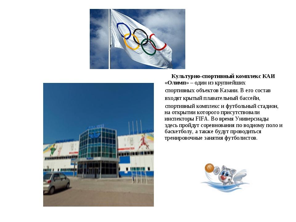 Культурно-спортивный комплекс КАИ «Олимп» – один из крупнейших спортивных об...