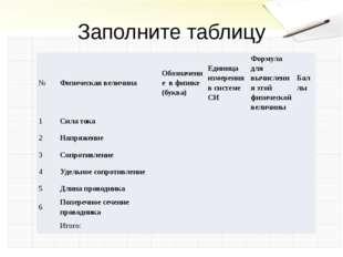 Заполните таблицу № Физическая величина Обозначение в физике (буква) Единица