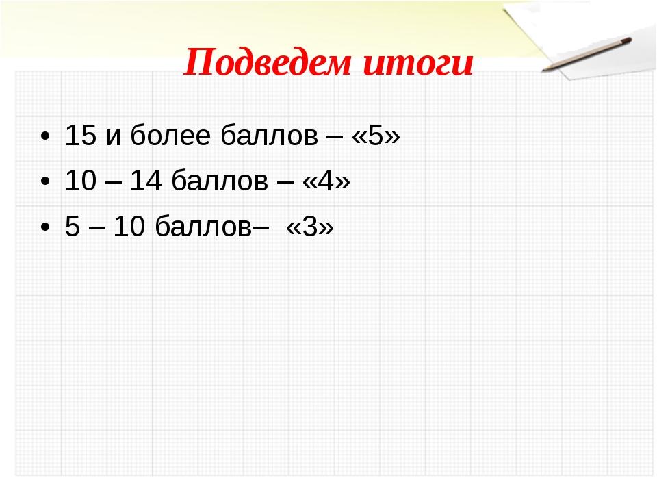Подведем итоги 15 и более баллов – «5» 10 – 14 баллов – «4» 5 – 10 баллов– «3»