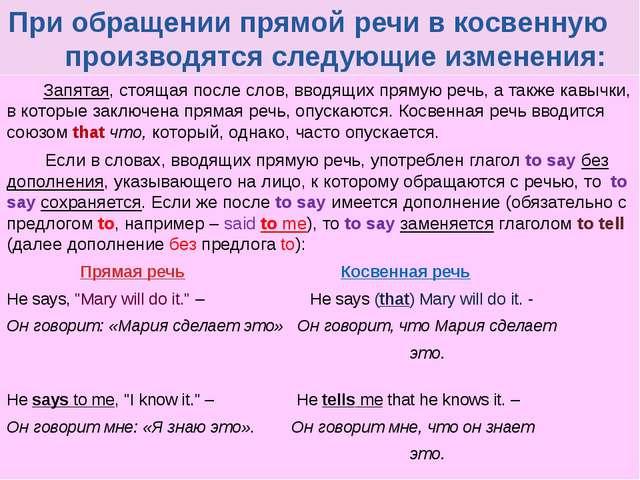 При обращении прямой речи в косвенную производятся следующие изменения: Запя...