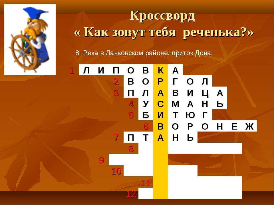 Кроссворд « Как зовут тебя реченька?» 8. Река в Данковском районе, приток Дон...