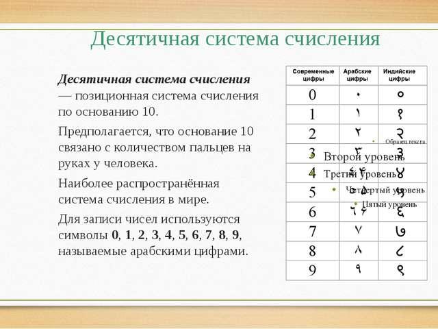 Десятичная система счисления Десятичная система счисления — позиционная систе...