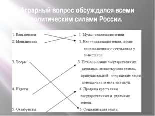 Аграрный вопрос обсуждался всеми политическим силами России.