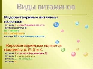 Водорастворимые витамины включают витамин С - аскорбиновая кислота витамины г