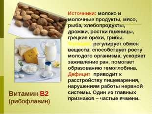 Источники: молоко и молочные продукты, мясо, рыба, хлебопродукты, дрожжи, рос