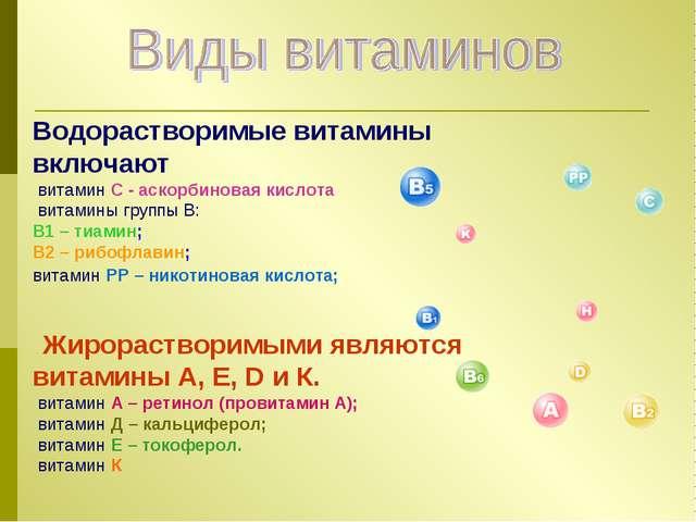 Водорастворимые витамины включают витамин С - аскорбиновая кислота витамины г...