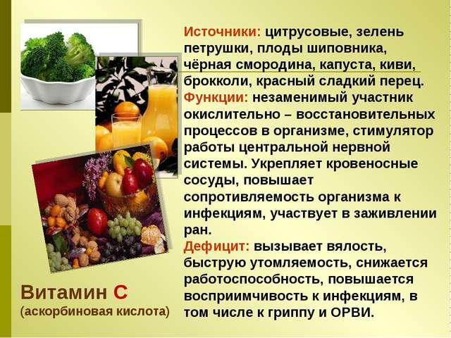 Витамин C (аскорбиновая кислота) Источники: цитрусовые, зелень петрушки, плод...