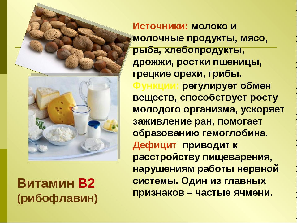 Источники: молоко и молочные продукты, мясо, рыба, хлебопродукты, дрожжи, рос...