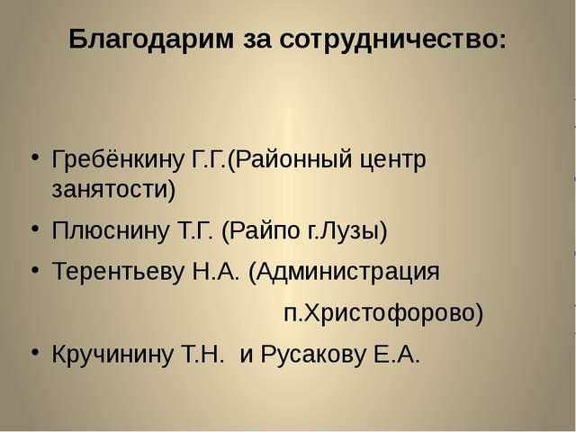 Благодарим за сотрудничество: Гребёнкину Г.Г.(Районный центр занятости) Плюсн...