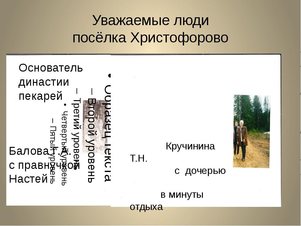 Уважаемые люди посёлка Христофорово Кручинина Т.Н. с дочерью в минуты отдыха...