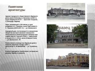 Памятники архитектуры Здание городского общественного Вдовьего дома имени Бли