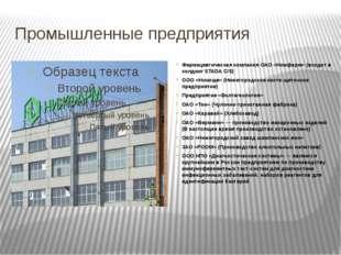 Промышленные предприятия Фармацевтическая компания ОАО «Нижфарм» (входит в хо