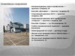 Спортивные сооружения Нагорный дворец спорта профсоюзов — проспект Гагарина,