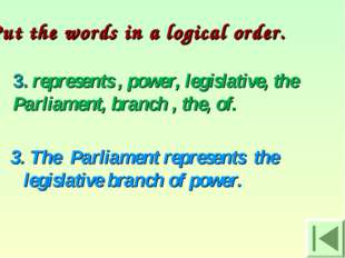 3. represents , power, legislative, the Parliament, branch , the, of. 3. The