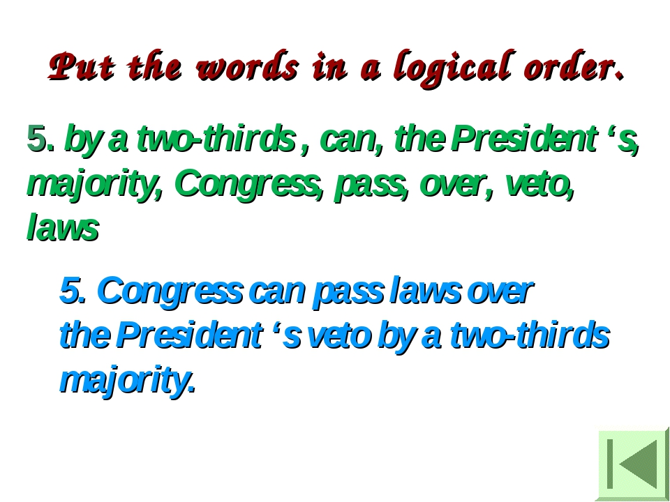 5. by a two-thirds , can, the President 's, majority, Congress, pass, over, v...