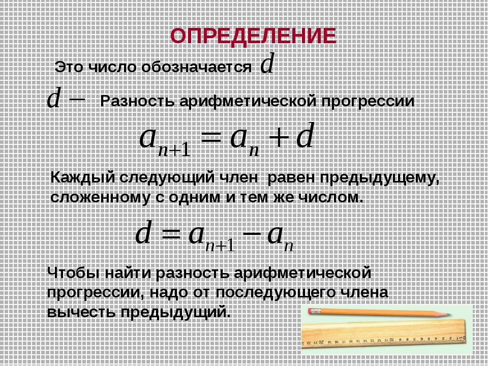 ОПРЕДЕЛЕНИЕ Разность арифметической прогрессии Это число обозначается Каждый...