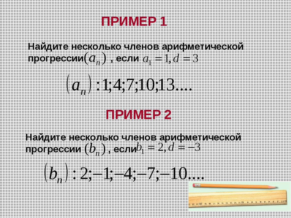 ПРИМЕР 1 Найдите несколько членов арифметической прогрессии , если ПРИМЕР 2 Н...
