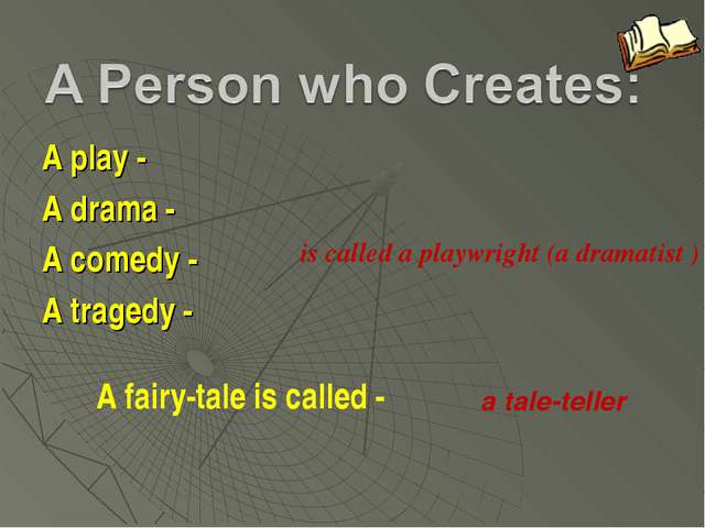 A play - A drama - A comedy - A tragedy - is called a playwright (a dramatist...