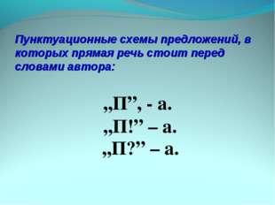 Пунктуационные схемы предложений, в которых прямая речь стоит перед словами а