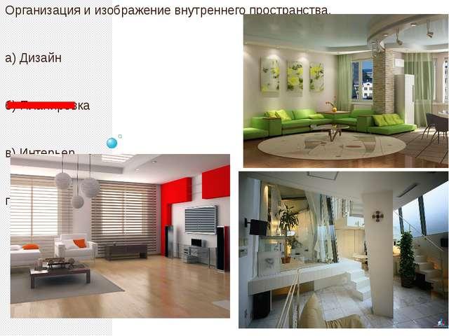 Организация и изображение внутреннего пространства. а) Дизайн б) Планировка...