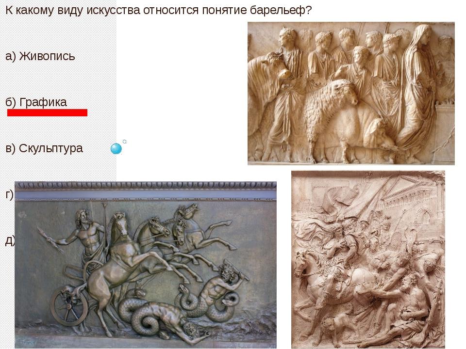 К какому виду искусства относится понятие барельеф? а) Живопись б) Графика в...