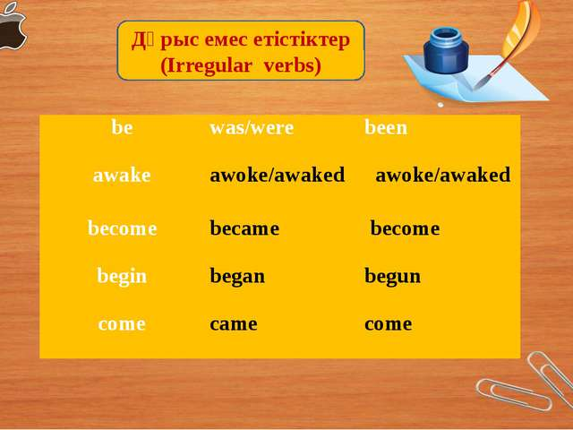 Дұрыс емес етістіктер (Irregular verbs)  be  was/were been   awake  awoke/awa...
