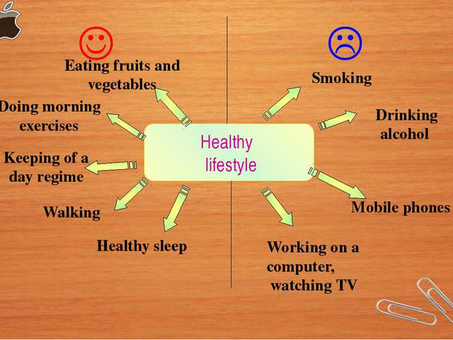 Healthy lifestyle   Eating fruits and vegetables Doing morning exercises Ke...