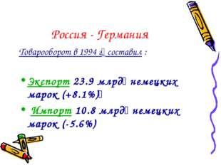 Россия - Германия Товарооборот в 1994 г составил : Экспорт 23.9 млрд немецк