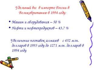 Удельный вес в импорте России в Великобританию в 1994 году: Машин и оборудова