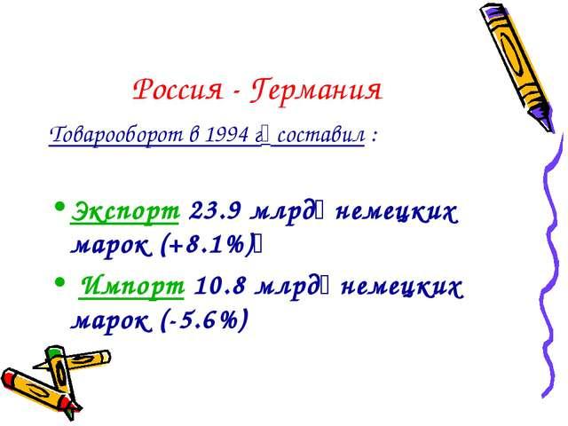 Россия - Германия Товарооборот в 1994 г составил : Экспорт 23.9 млрд немецк...