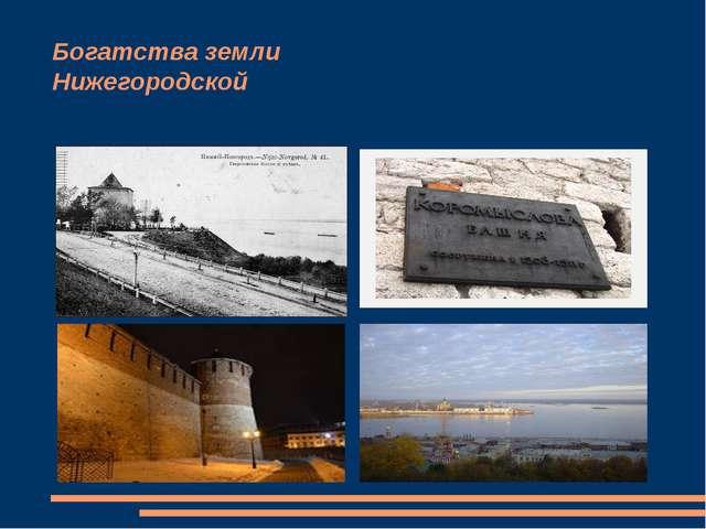 Богатства земли Нижегородской Но особую гордость и любовь вызывает у нас Ниже...