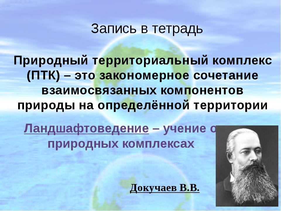 Запись в тетрадь Изменённые под влиянием деятельности человека природные комп...