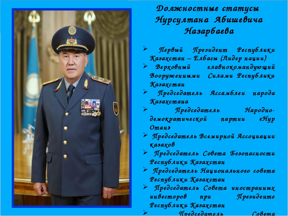 Должностные статусы Нурсултана Абишевича Назарбаева Первый Президент Республ...