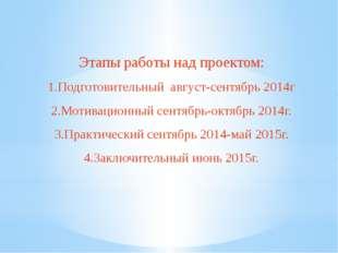 Этапы работы над проектом: 1.Подготовительный август-сентябрь 2014г 2.Мотивац