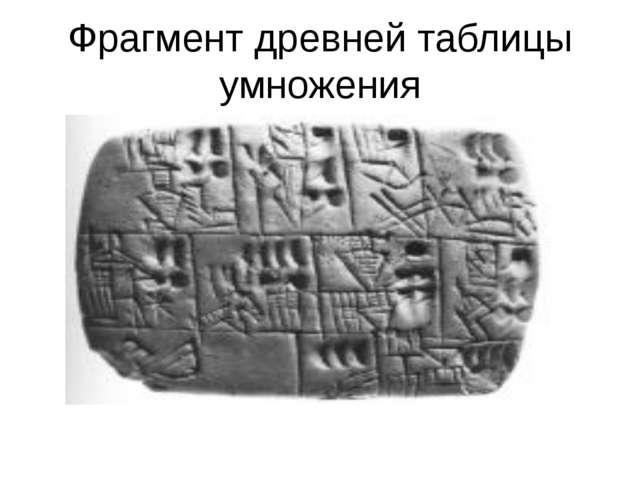 Фрагмент древней таблицы умножения