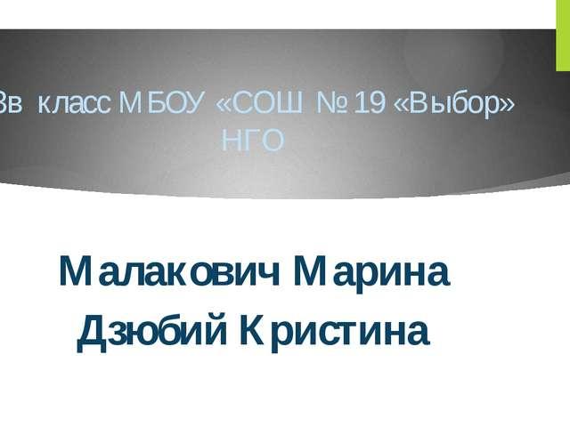 3в класс МБОУ «СОШ № 19 «Выбор» НГО Малакович Марина Дзюбий Кристина