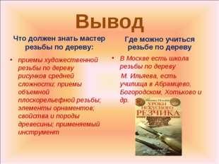 Вывод Что должен знать мастер резьбы по дереву: В Москве есть школа резьбы по