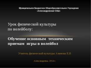 Учитель физической культуры Азимова Е.В Александровка, 2014 г. Урок физическо