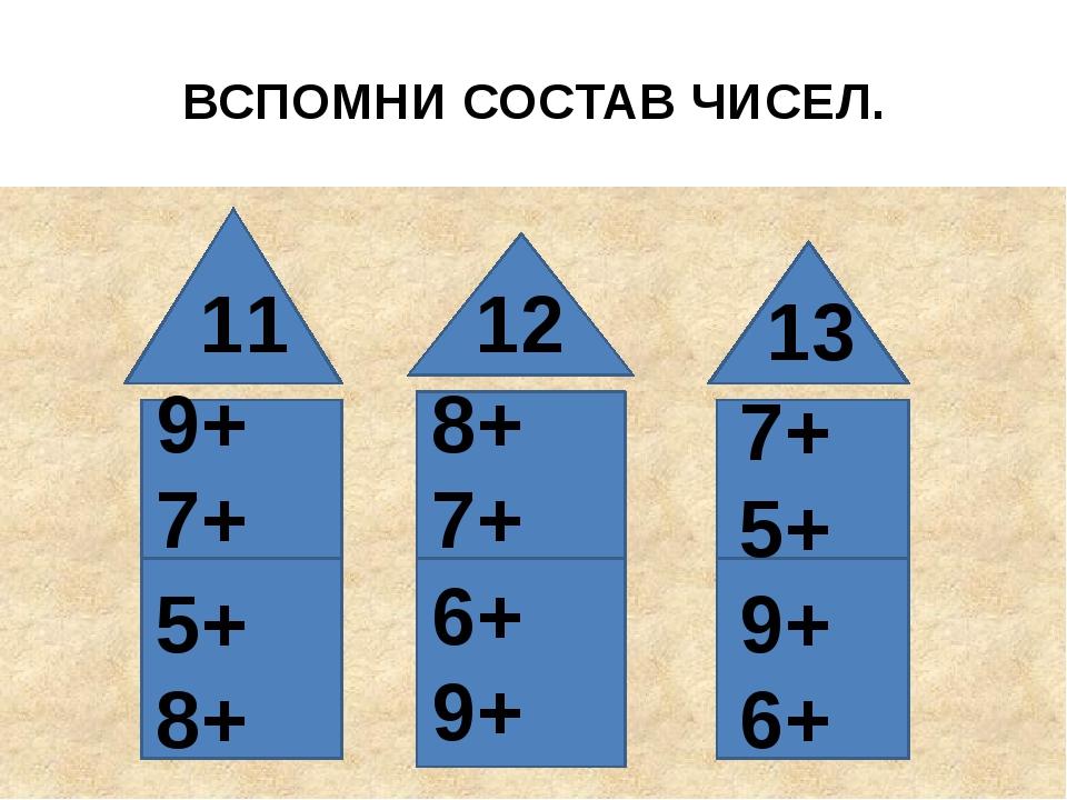 ВСПОМНИ СОСТАВ ЧИСЕЛ. 11 12 13 9+ 7+ 5+ 8+ 8+ 7+ 6+ 9+ 7+ 5+ 9+ 6+