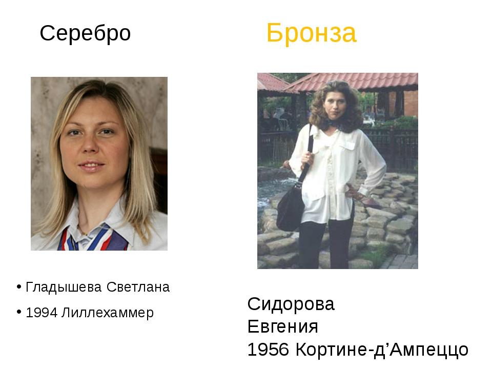 Серебро Гладышева Светлана 1994Лиллехаммер Сидоро...