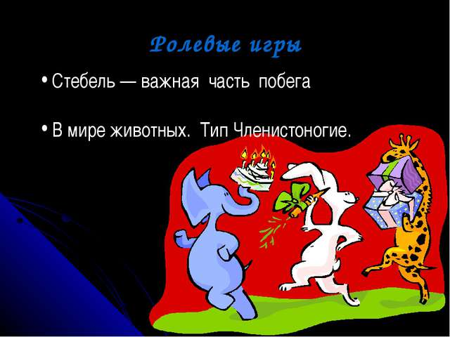 Ролевые игры Стебель — важная часть побега В мире животных. Тип Членистоногие.