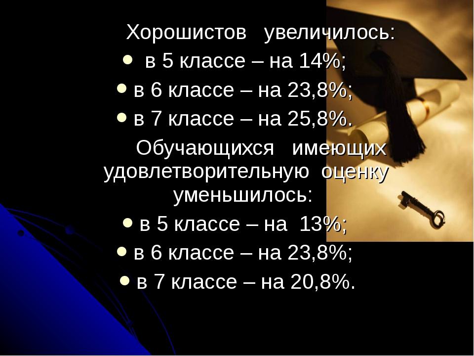 Хорошистов увеличилось: в 5 классе – на 14%; в 6 классе – на 23,8%; в 7 кла...
