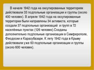 В начале 1942 года на оккупированных территориях действовали 33 подпольные о