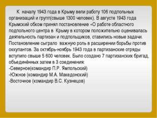К началу 1943 года в Крыму вели работу 106 подпольных организаций и групп(св