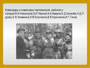 Командиры и комиссары партизанских районов и отрядов:В.И.Никаноров,В.И.Чёрный